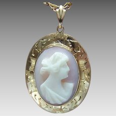 Vintage 10K GOLD Pendant - Pink Shell, Cameo, Lavaliere, Charm