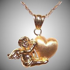 Italian 18K Gold Cherub Heart Pendant