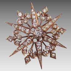 ANTIQUE VICTORIAN 14K Gold & 1.50CT TW Diamond Starburst Pin/Pendant Combo!