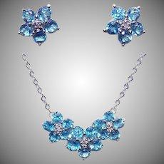 10K Gold Blue Topaz - White Sapphire Jewelry Set