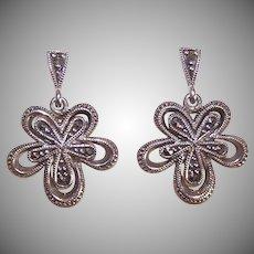 Vintage STERLING SILVER & Marcasite Floral Drop Earrings!
