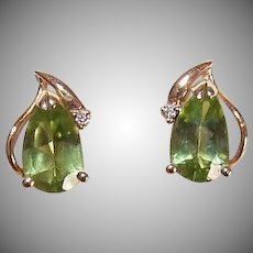 Vintage 14K Gold, 1.52CT TW Peridot & Diamond Accent Pierced Earrings!