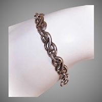 Vintage STERLING SILVER Bracelet - Link, Toggle Clasp Closure