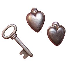 Vintage STERLING SILVER Charms - 2 Hearts, Key, Key to My Heart