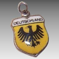 Vintage 800 SILVER Charm - Souvenir, Country, Travel Shield, Germany, Deutschland
