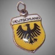 Vintage 800 SILVER Charm - Souvenir, Country, Travel Shield, Germany, Deutschland