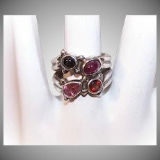 Vintage SAJEN Sterling Silver & Multi-Gem Ring - Garnet, Tourmaline, Black Star Sapphire & Ruby!