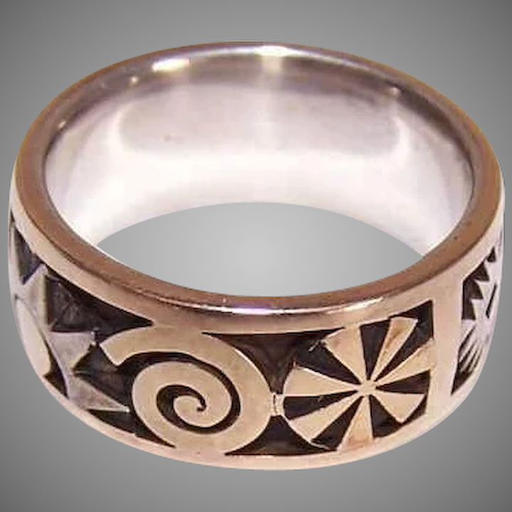 Vintage 18k Gold Sterling Silver Ring By Aaron Macsai