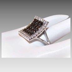 Vintage STERLING SILVER & Rhinestone/CZ Fashion Ring!