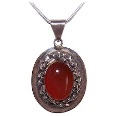 Vintage Mexican STERLING SILVER & Carnelian Pendant!