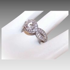Vintage STERLING SILVER & Cubic Zirconia/CZ Fashion Ring!