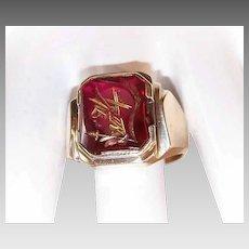 Vintage GENTS 10K Gold & Glass Intaglio Ring - Knights Head!