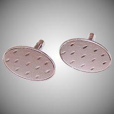 Vintage STERLING SILVER Cufflinks - Ovals, Notched Design