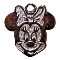 Sterling Silver Vermeil Disney Charm - Minnie Mouse Flat Disc