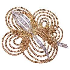 Estate RETRO MODERN 18K Gold & .50CT TW Diamond Pin/Brooch!