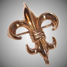 Vintage GOLD FILLED Pin - Watch Pin, French, Fleur de Lis, Yellow Gold