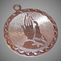 60s STERLING SILVER Disc Charm - A Pair of Hands in Prayer!