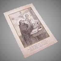 C.1890 FRENCH Paper Lace Religious Card -Saint Anthony of Padua w/Prayer in English!