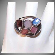 Vintage Sterling Silver & Multi-Gemstone Ring - Moonstone Quartz, Amethyst & More!