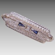 ART DECO 14K Gold, .25CT TW Blue Sapphire & Diamond Filigree Pin!
