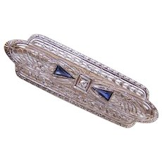 ART DECO 14K Gold, .25CT TW Blue Sapphire & Diamond Filigree Pin!