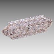 ART DECO 10K Gold & Diamond Filigree Pin!
