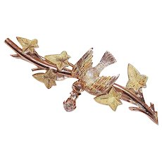 ANTIQUE EDWARDIAN 14K Gold & .15CT TW Diamond Pin/Brooch - Bird on a Branch!