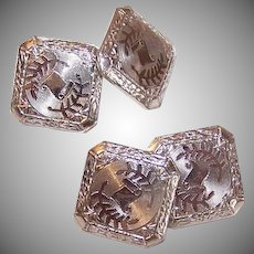 ART DECO 18K White Gold Topped Guilloche (Engine Turned) Cufflinks - Cuff Links!