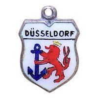 800 Silver Enamel Travel Shield Charm - Dusseldorf