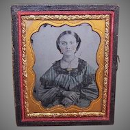 VICTORIAN Ambrotype of a Young Lady Wearing Gold Jewelry!