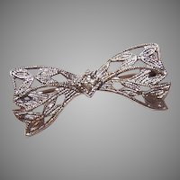 Vintage Sterling Silver Filigree Pin - Bow Shape with Clear Rhinestone