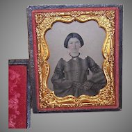 VICTORIAN Ambrotype of a Young Lady Wearing a Strand of Beads!