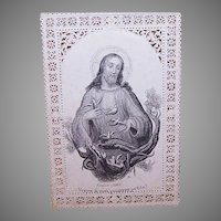 C.1890 FRENCH Bouasse-Lebel Paper Lace Religious Card - Image of Jesus and Flock of Doves