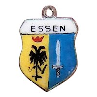 800 Silver Enamel Travel Shield Charm - Essen