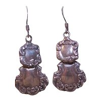 Edwardian Revival Sterling Silver Luggage Tag Drop Earrings