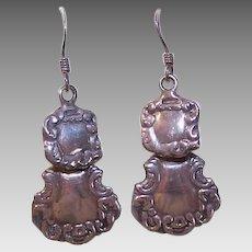 EDWARDIAN REVIVAL Sterling Silver Drop Earrings for Pierced Ears!