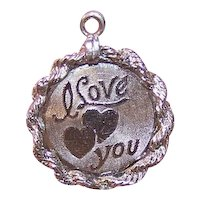 Elco Sterling Silver Disc Charm -  I Love You