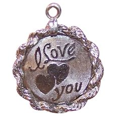 Vintage Sterling Silver I Love You Charm