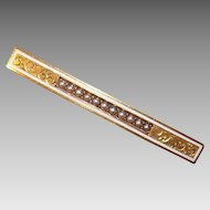 ANTIQUE EDWARDIAN 14K Gold & Enamel Bar Pin with Natural Pearls!