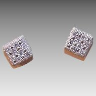 ESTATE 10K Gold & .25CT TW Diamond Pierced Earrings - Studs - Posts with Nuts!