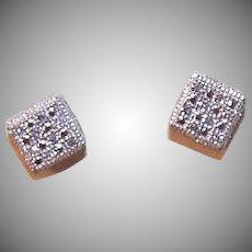Vintage  10K GOLD Earrings - .25CT TW Diamond, Pierced Earrings, Studs
