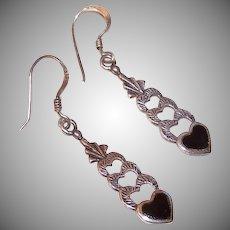 Vintage STERLING SILVER & Black Enamel Heart Drop Earrings!