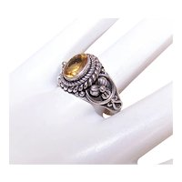 Sterling Silver Citrine Fashion Ring Made in Indonesia