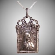Art Deco FRENCH Silverplate Religious Medal - Saint Bernadette Soubirous Dressed as a Nun