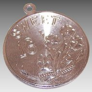 Vintage STERLING SILVER Disc Charm by Lumin - Sweet 16!