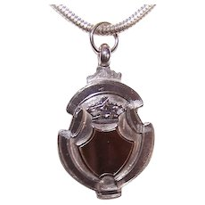 C.1921 English STERLING SILVER & 9K Gold Watch Fob Charm or Pendant!