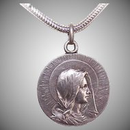 Dated 1906 FRENCH SILVER First Communion Medal/Pendant - Virgin Mary Front!