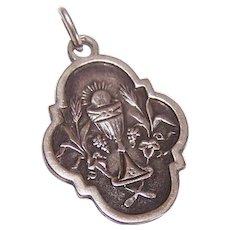 Dated 1892 FRENCH 800/900 Silver Religious First Communion Medal/Pendant!
