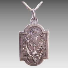 Dated 1891 FRENCH 800/900 Silver Religious First Communion Medal/Pendant!