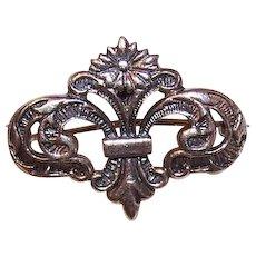 Vintage STERLING SILVER Watch Pin - Locket Pin -  Lovely Stylized Fleur de Lis